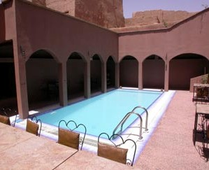 Swimming pool in a hotel in Ksar El Khorbat, near Tinghir, Morocco.